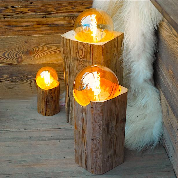 Lampes UnicDesign by Fabrice Peltier - Vieux bois récupèré - Eco design